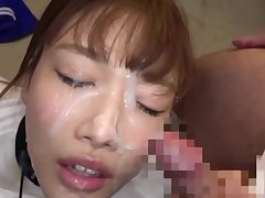 Cute Japanese gets her whole face covered in sperm