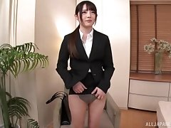 Japanese girl with amazing ass fucked together with sucks a dick in the course of time